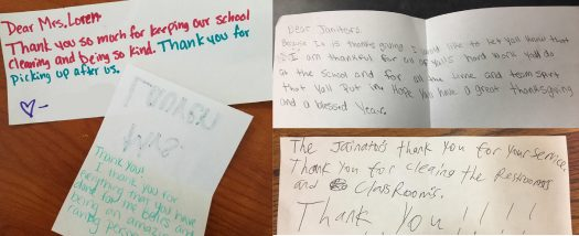 Staff members were surprised with thank-you notes from students before Thanksgiving.