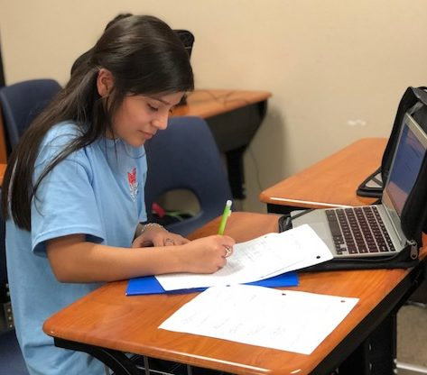 Sonia Esquivel works on homework during power hour.