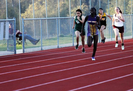 Sophomore Samantha Simpson takes the lead at the Buffalo track meet.