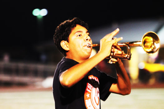 When Omar Almeida is not directing the band as Assistant Drum Major, he's playing the trumpet.