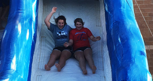 FFA and FCCLA students enjoyed the water slides after the business portion of their meeting.