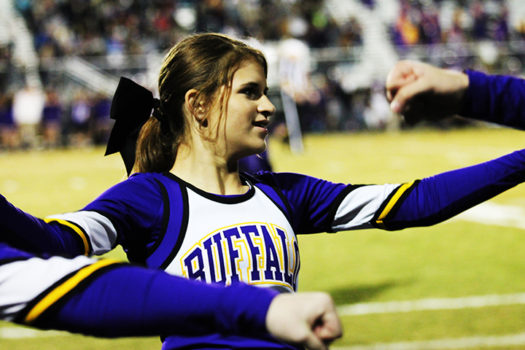 Freshman Gracelynn Dawson said she lives for cheerleading.