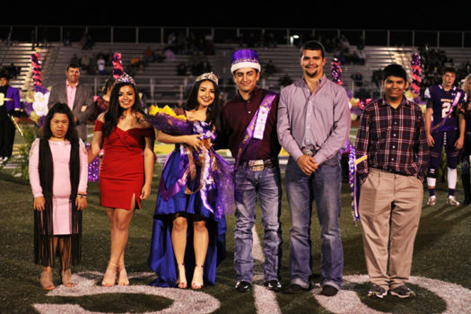 Homecoming queen and king Andrea Garcia and Peyton Graves pose with the court.