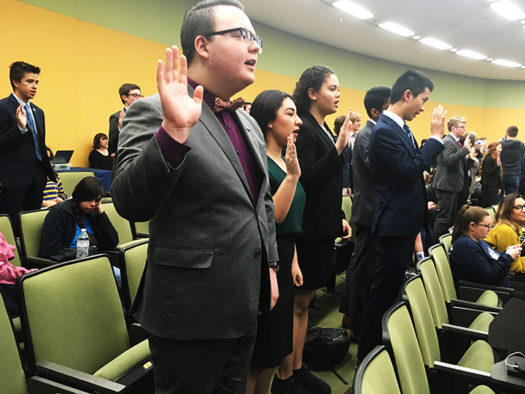 State Congress competitors take the oath of office before starting preliminaries.