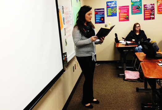 English teacher Lauren Rodriguez lectures during her AP class.
