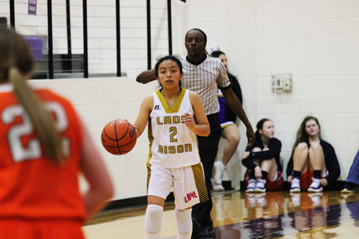 Freshman Aleida Gonzalez takes the ball down the court.