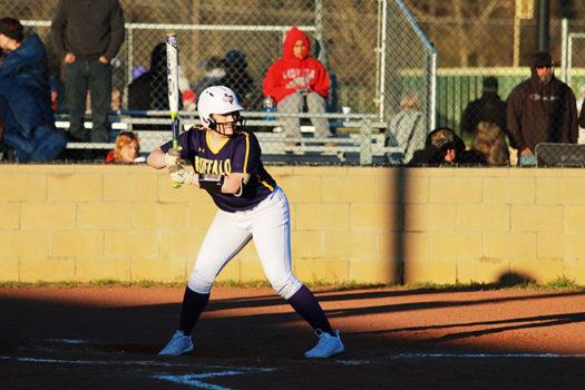 Freshman Addison Lathrop takes her turn at bat.