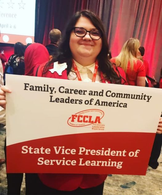 Sophomore Callie Harter shows  off her new title as an FCCLA state officer.