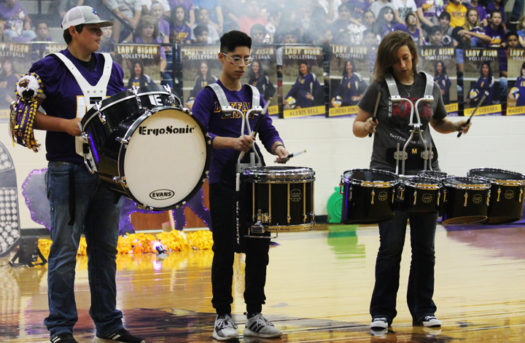 The Brigade drumline perform at the Homecoming pep rally.