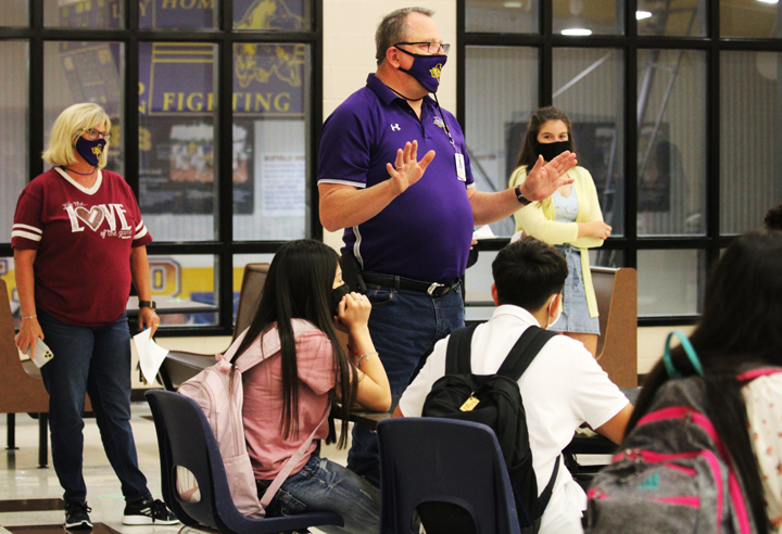 Principal John Clements talks to the freshman class about remote pep rallies.