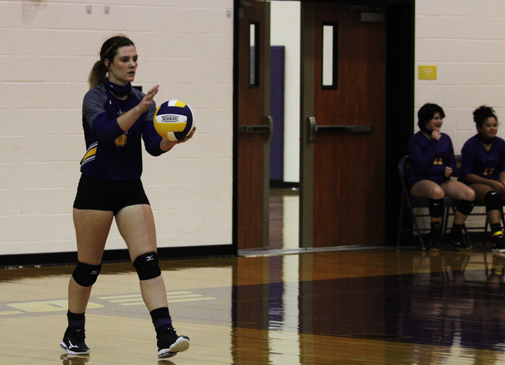 Junior Avery Hardin serves during a volleyball game.