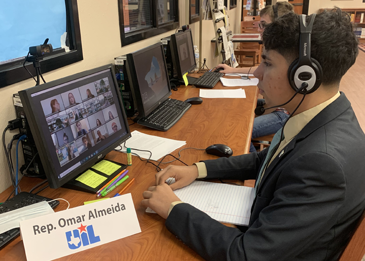 Omar Almeida gets into his Zoom competition room for Congress.