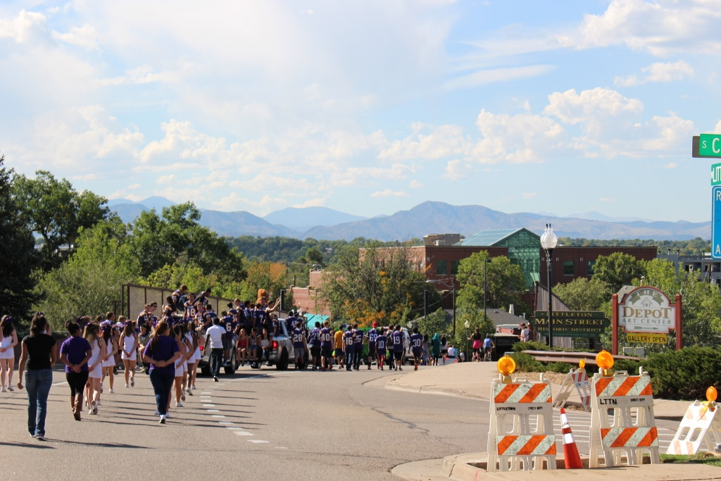 The students of LHS make their way into downtown Littleton in their homecoming parade