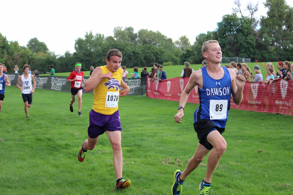 Junior Ryan Prazak runs to the finish line