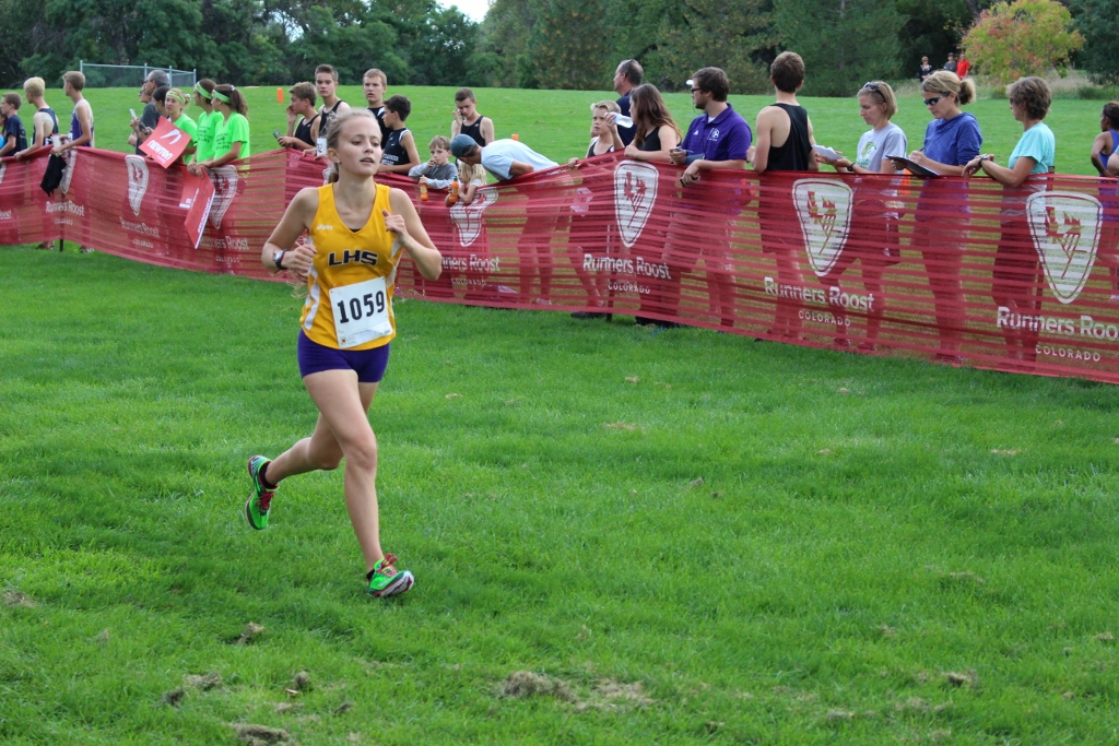 Junai Stutzman pushes her self to the end of the race at the LHS Invitational
