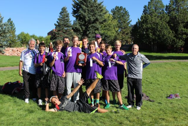 The boys tennis team posses after winning second place at regionals.