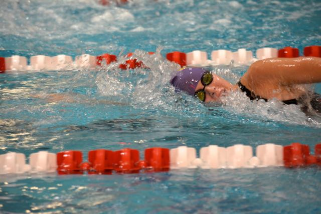 Senior Morgan Zueger in the 200 freestyle relay