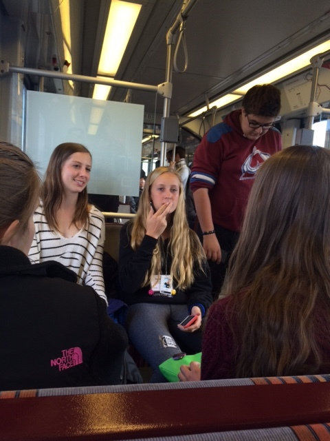 Staffers on the Light Rail after the conference