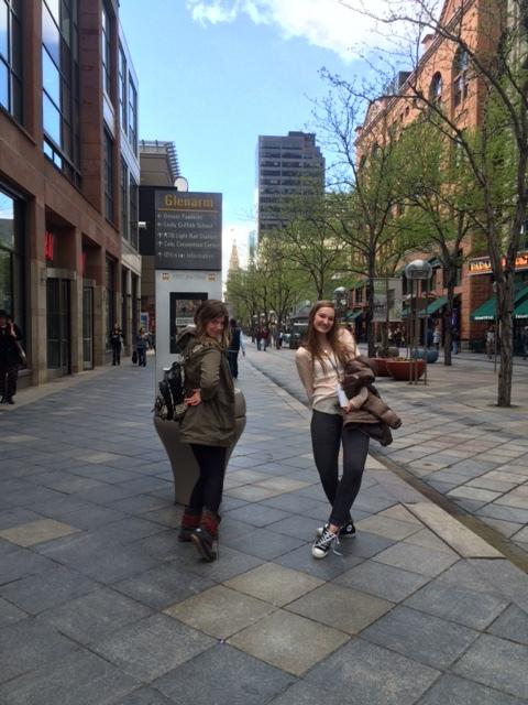 Juniors Bayley Shane and Hailey Egelhoff walking around 16th street mall
