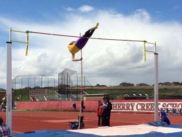 Senior Hugo Ogilvie competes in pole vaulting at the Grandview Invitational
