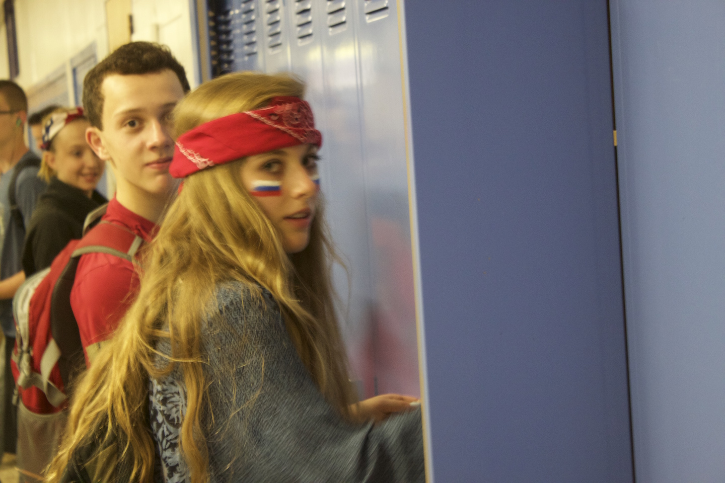 Nicolina Slenkovich finds something in her locker on red, white and blue day.