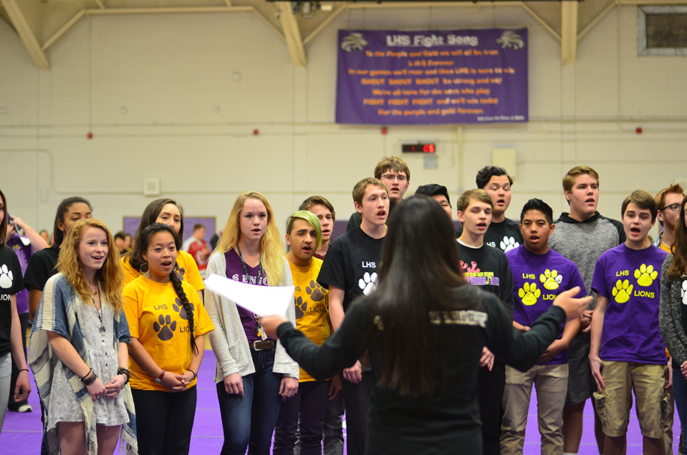Troubadors perform the national anthem at the beginning of assembly