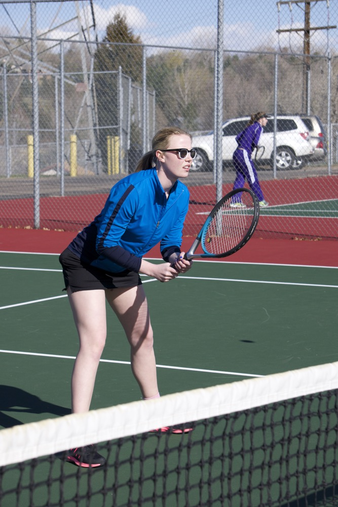 Senior Abby Vankooten watches closely as her opponent serves.