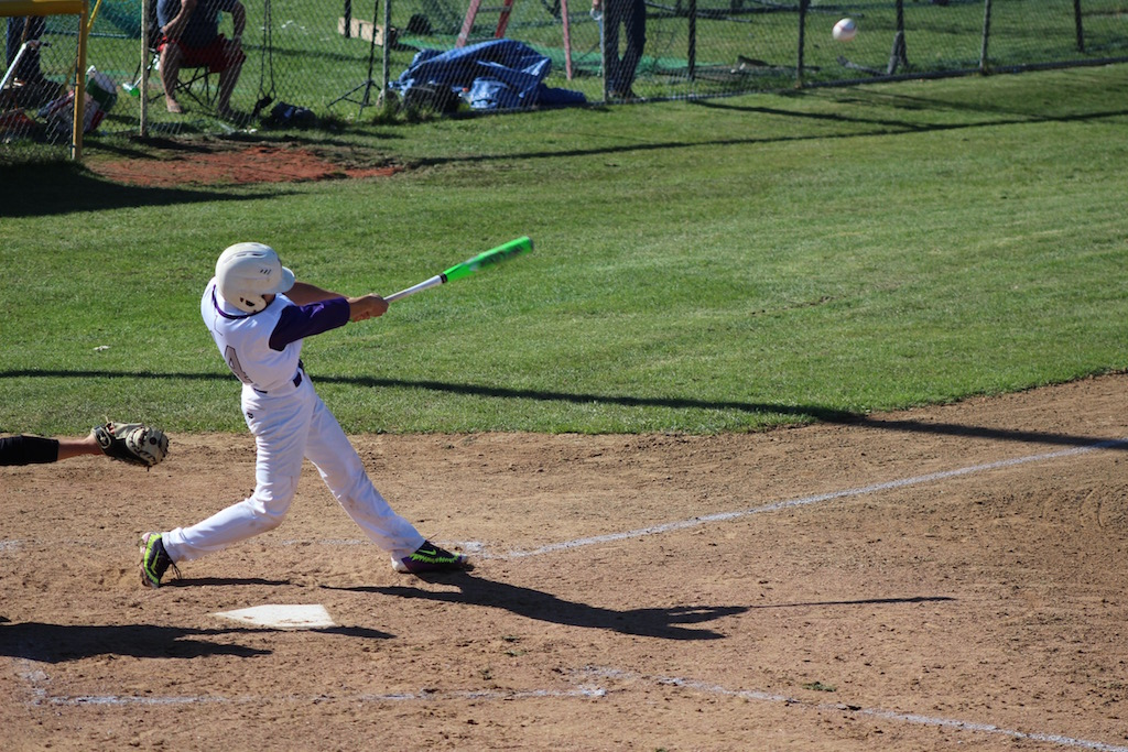 Junior Jarod Dreiling hits an RBI