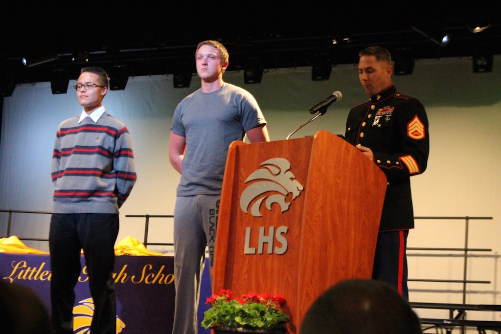 Students receive awards from the United States Military