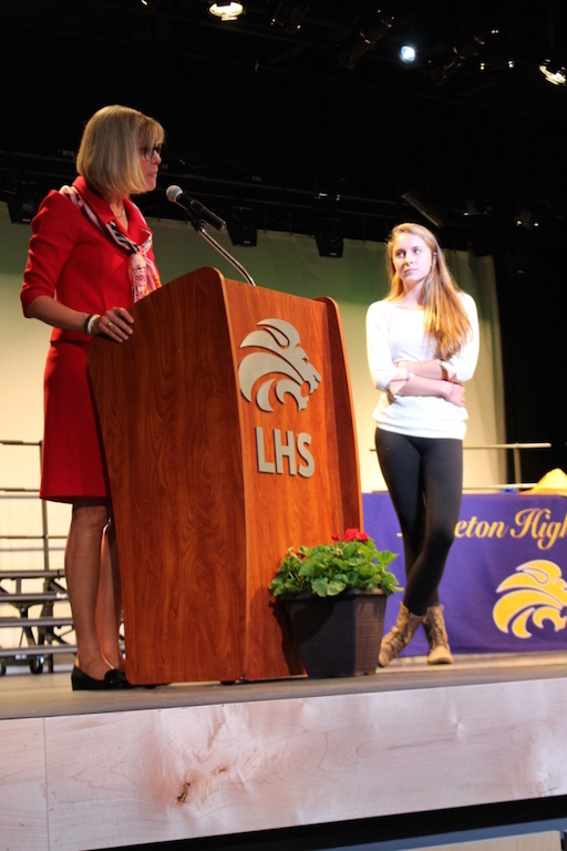 Principal Dr. Amy Oaks speaks about 2016 valedictorian Claire Martin