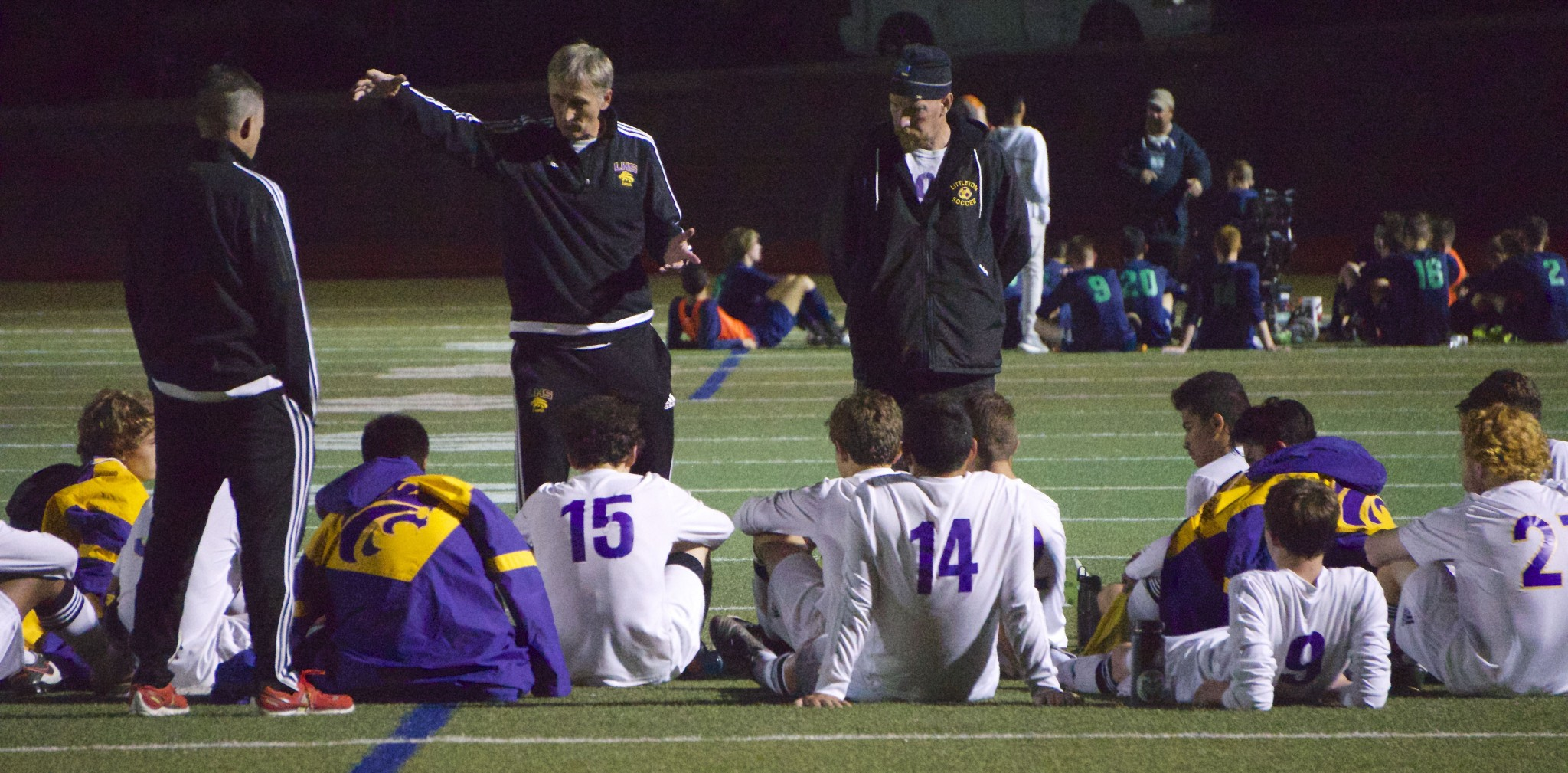 Coach Pedja instructing the team at half-time