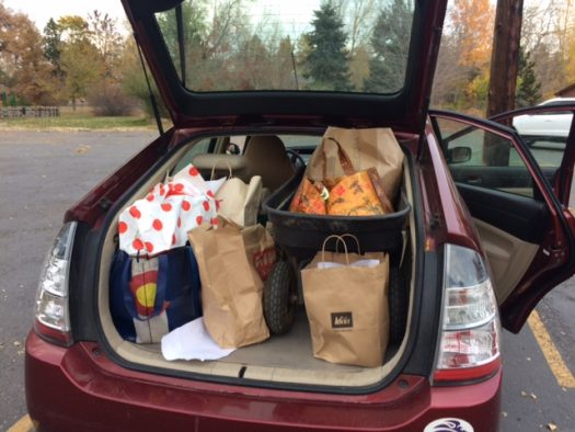 Trunk full of canned goods and non-perishable food items