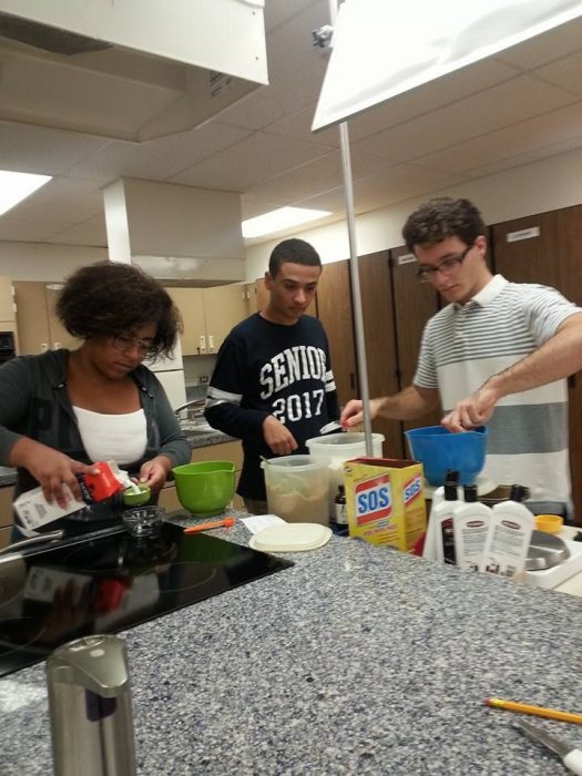 Culinary club members gather ingredients for their peanut butter fudge