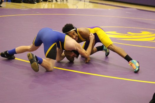 Senior Dante Gallegos gets a grab on his opponent