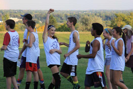 The team celebrates a goal.