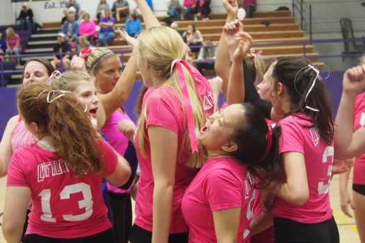 Zoe Kresek and teammates perform a cheer before second set.