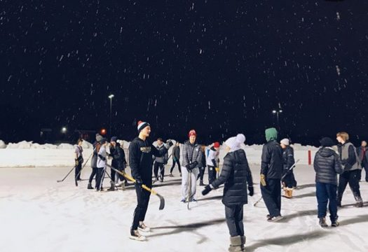 BHS students having fun during boot hockey at Neill Park Thursday.