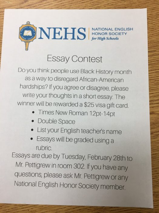 national english honor society essay contest the main street journal the national english honor society is hosting an essay contest for black history month the essay must be submitted by tuesday 28th to mr