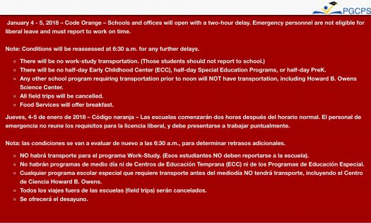 On The 4th And 5th Of January There Will A 2 Hour Delay Due To Code Orange This Means That Schools Offices Open With Two