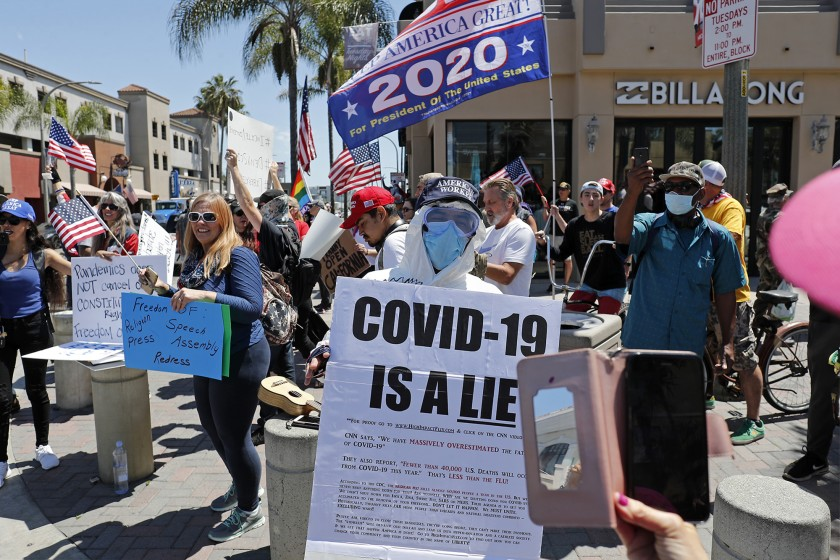 protesters protest against social distancing and the economic shutdown.