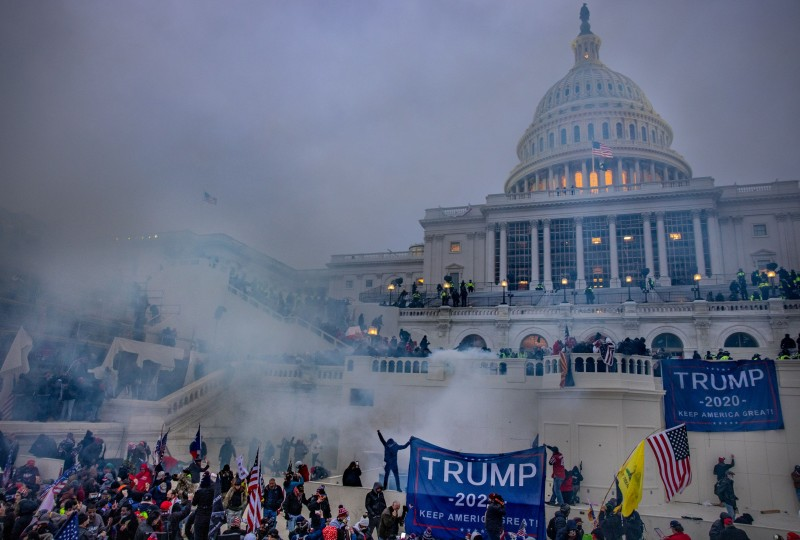 Trump supporter riot at the capital amid clouds of tear gas