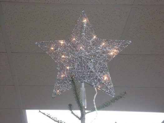 Star on top of tree in SCHS commons