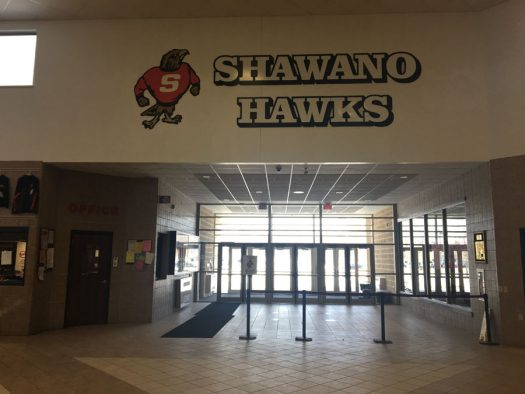 The entrance to Shawano High.