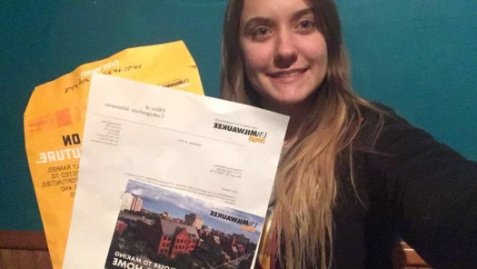 Kadonsky with her acceptance letter