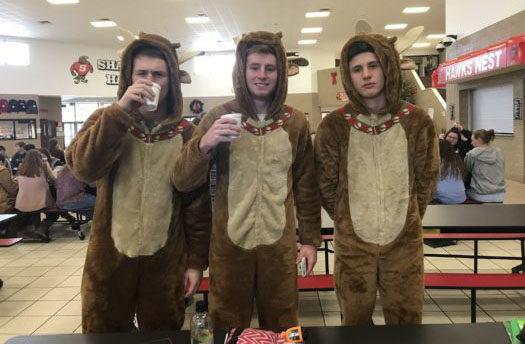 Juniors Brayden Dickelman, Chase Huntington and Sam Schulze dressed up for pajama day.