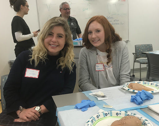 Chloe Krueger and Kyra Klement at the suture clinic.