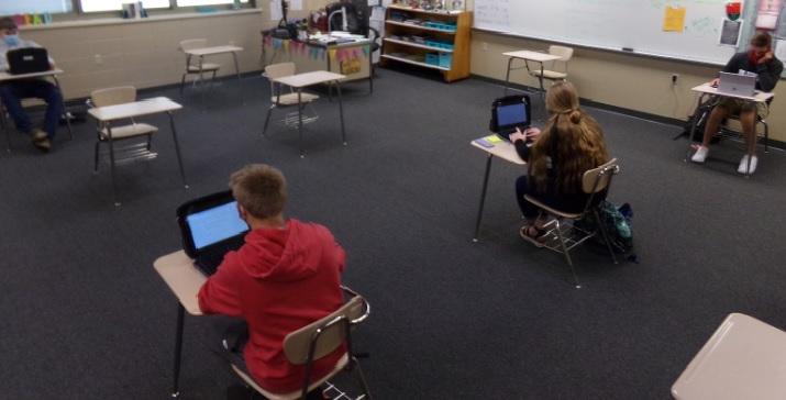 Monfils, Nielsen, Meisner, and Polzin working in class.