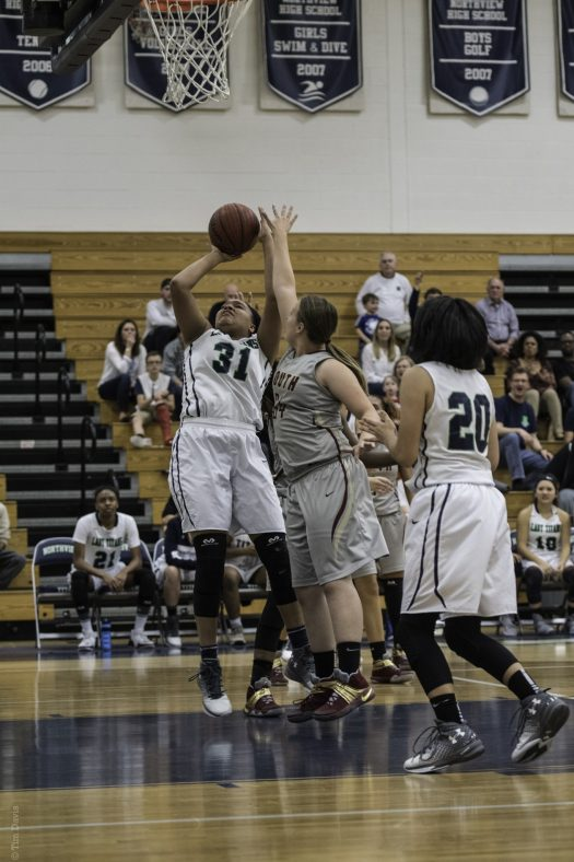 Maya Richards shoots in the paint against South Paulding