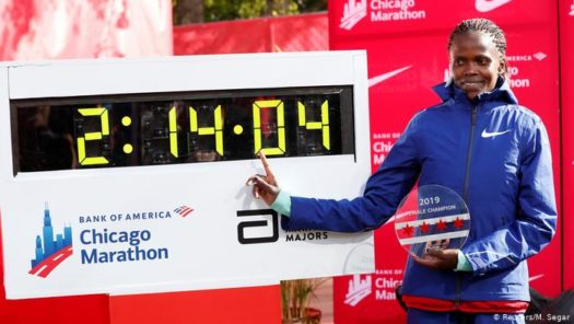 Kosgei next to her record breaking time
