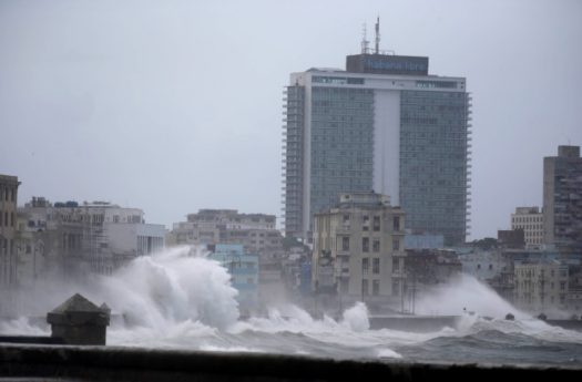 Hurricane Irma moving into Cuba with massive waves continuously slamming into coastal cities.